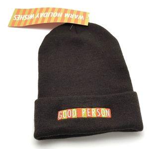 Unisex Brown Knit GOOD PERSON Cap / Beanie - NWT